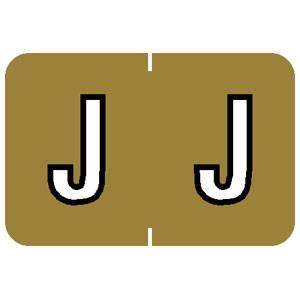 "1""H x 1-1/2""W Gold Barkley ABKM Compatible 1"" Alpha Labels 'J' (500/Roll) - 91630"