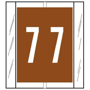 """1-2/3"""" H x 1-1/2"""" W Brown Acme Visible Compatible 1-2/3"""" Numeric Tabs '#7' (500/Roll) - 12507"""