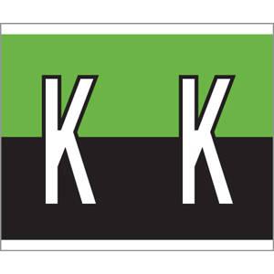 "1-1/2"" H x 1-1/4"" W Green/Black Kardex PSF-139 Compatible 1-1/4"" Alpha Labels 'K' (500/Roll) - 139-K"
