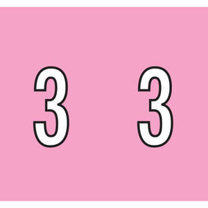 """1-1/2"""" H x 1-1/4"""" W  Pink Kardex PSF-138 Compatible 1-1/4"""" Numeric Labels '3' (500/Roll) - 138-3"""