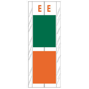 "4"" H x 1-1/2"" W Green/Orange Acme Visible Compatible 4"" 2-Color Alpha Tabs 'E' (102/Pack) - 12705"