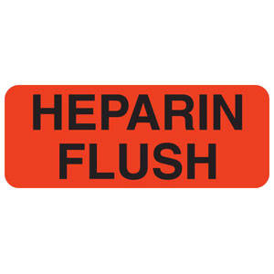 """2-1/4""""W x 7/8""""H Fluorescent Red """"Heparin Flush"""" (420/Roll) - V-IV213"""