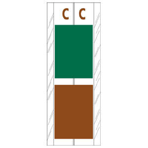 "4"" H x 1-1/2"" W Green/Brown Acme Visible Compatible 4"" 2-Color Alpha Tabs 'C' (102/Pack) - 12703"