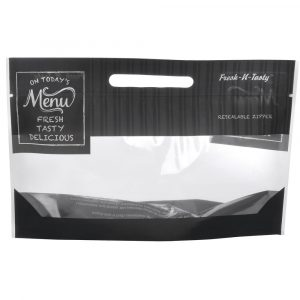 "10.75"" x 6"" x 4"" Flexible Bakery Bag, Small, ""Today's Menu"" (250/Pack) - HUB-87712"