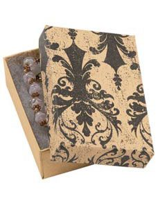 Distressed Damask Jewelry Box with Cotton (Case/50) - STOR-87741