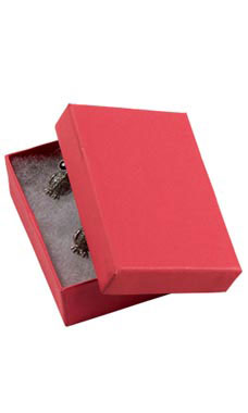 Red Jewelry Box with Cotton (50/Case) - STOR-87820