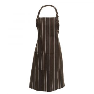 "Adjustable Bib Apron Brown Cream Stripe 40"" Ties 34""L x 24""W Poly Cotton (3 Aprons) - HUB-90013"