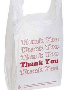White Plastic Thank You Bags (1000 Bags/Case) - STOR-90109