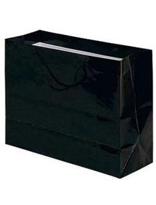 Large Black Glossy Euro Tote Bag (100 Bags/Case) - STOR-90511
