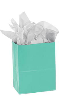 Small Turquoise Paper Shopper (25 Bags/Case) - STOR-92167