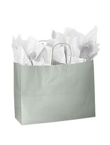Large Silver Glossy Paper Shopping Bag (100 Bags/Case) - STOR-92393