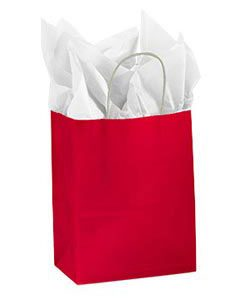 Medium Red Glossy Paper Shopping Bag (100 Bags/Case) - STOR-92397