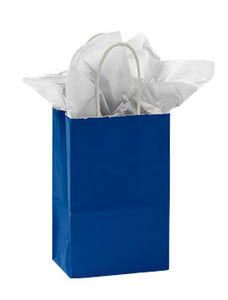 Small Royal Blue Glossy Paper Shopper (25 Bags/Case) - STOR-92462