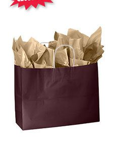 Large Wineberry Glossy Paper Shoppers (25 Bags/Case) - STOR-92472