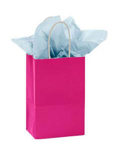 Small Cerise Glossy Paper Shopper (25 Bags/Case) - STOR-92492