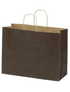 Large Chocolate Paper Shopper (25 Bags/Case) - STOR-92773