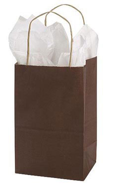 Small Chocolate Paper Shopper (25 Bags/Case) - STOR-92774