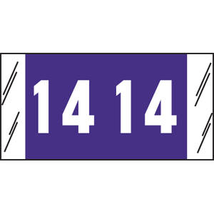 """3/4"""" H x 1-1/2"""" W Purple Acme Visible Compatible 3/4"""" Yearcode Labels '14' (1,000/Roll) - 12614"""