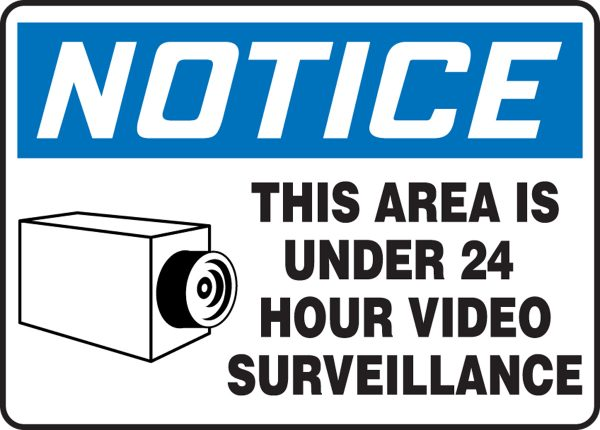 """10 x 14 Plastic Safety Sign -  """"This Area Is Under 24 Hour Video Surveillance"""" Sign - SAFETY-MA-MASE807VP"""