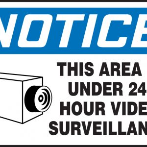 "10 x 14 Dura-Plastic Safety Sign -  ""This Area Is Under 24 Hour Video Surveillance"" Sign - SAFETY-MA-MASE807XT"