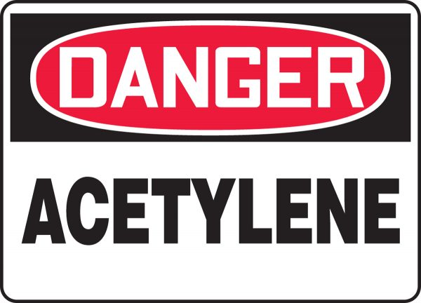"""10 x 14 Accu-Shield Safety Sign -  """"Danger Acetylene Safety"""" Sign - SAFETY-MA-MCHL174XP"""