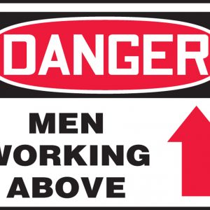 """10 x 14 Dura-Fiberglass Safety Sign -  """"Danger Men Working Above"""" with Arrow Sign - SAFETY-MA-MCRT016XF"""
