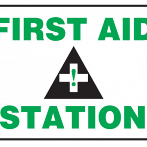 "10 x 14 Dura-Plastic Safety Sign -  ""First Aid Station"" Sign with Graphic - SAFETY-MA-MFSD960XT"