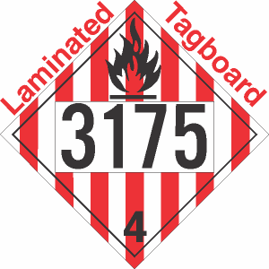 """10.75"""" x 10.75"""" Class 4 Flammable Solid (3175) D.O.T Placards (25 Placards) - ML-PI10310-VIN"""