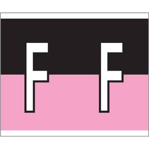 "1-1/2"" H x 1-1/4"" W  Black/Pink Kardex PSF-147 Compatible 1-1/4"" Alpha Labels 'F' (500/Roll) - 147-F"