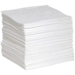 "15"" x 19"" Heavyweight White Oil-Only Sorbent Pads (100/Pack) - COM-AB-WPB100H"