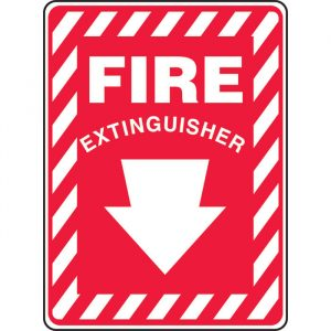 "10 x 14 Accu-Shield Safety Sign -  ""Fire Extinguisher"" Sign with Down Arrow - SAFETY-MA-MFXG908XP"