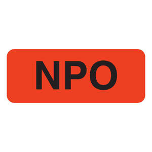 "2-1/4""W x 7/8""H Fluorescent Red ""NPO"" Label is Removable (420/Roll) - V-SY229"