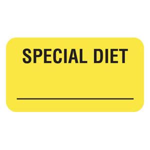 "1-5/8""W x 7/8""H Fluorescent Yellow ""Special Diet"" (560/Roll) - V-AN254"