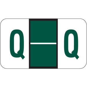 "15/16"" H x 1-5/8"" W Dark Green POS Compatible Laminated 15/16"" Alpha Label 'Q' (500/Roll) - 3POSQ"
