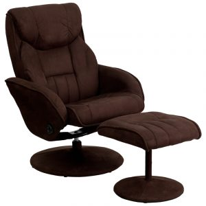 "40"" Contemporary Brown Microfiber Recliner & Ottoman w/ Circular Microfiber Wrapped Base (1 Set)"