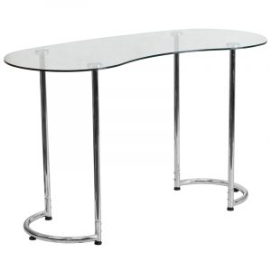 28.5'' Contemporary Desk w/ Clear Tempered Glass Top & Chrome Frame Finish (1 Desk)