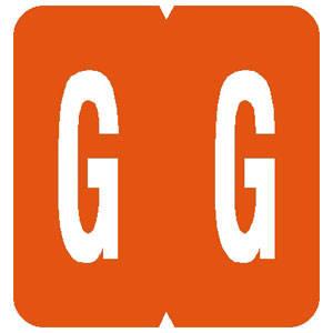"1-5/16""H x 1-1/4""W Orange GBS/VRE 8848/8850 Compatible 1-15/16"" Alpha Label 'G' (200/Pack) - 61327"
