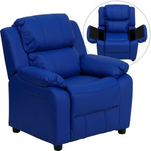 """28"""" Deluxe Padded Contemporary Blue Vinyl Kids Recliner w/ Storage Arms (1 Chair)"""