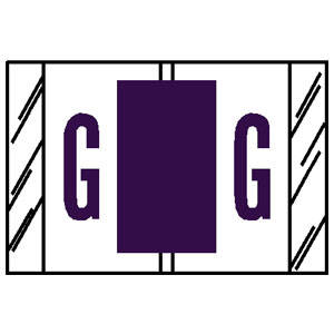 """1""""H x 1-1/2""""W Purple Tab Product Compatible 1"""" Alpha Tabs 'G' (500/Roll) - 14107"""
