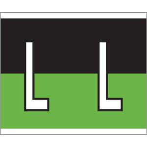 """1-1/2"""" H x 1-1/4"""" W Black/Green Kardex PSF-139 Compatible 1-1/4"""" Alpha Labels 'L' (500/Roll) - 139-L"""