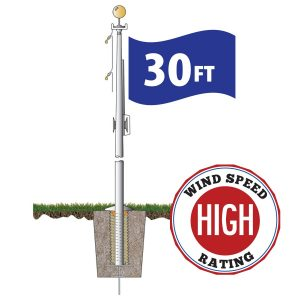 Satin Hurricane Series 30ft Flagpole (ECH30IH) Internal Halyard - FG-FLGPCOM1000027949-ST