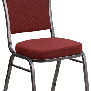 """38"""" Crown Back Stacking Banquet Chair w/ 2.5"""" Burgundy Patterned Fabric Seat & Silver Vein Frame (1 Chair)"""