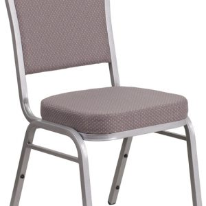 """38"""" Crown Back Stacking Banquet Chair w/ 2.5"""" Gray Dot Fabric Seat & Silver Frame (1 Chair)"""