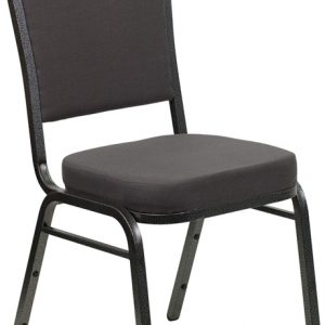 """38"""" Crown Back Stacking Banquet Chair w/ 2.5"""" Gray Fabric Seat & Silver Vein Frame (1 Chair)"""