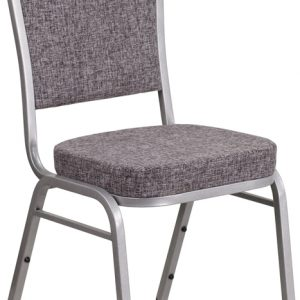 """38"""" Crown Back Stacking Banquet Chair w/ 2.5"""" Herringbone Fabric Seat & Silver Frame (1 Chair)"""