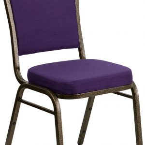 """38"""" Crown Back Stacking Banquet Chair w/ 2.5"""" Purple Fabric Seat & Gold Vein Frame (1 Chair)"""