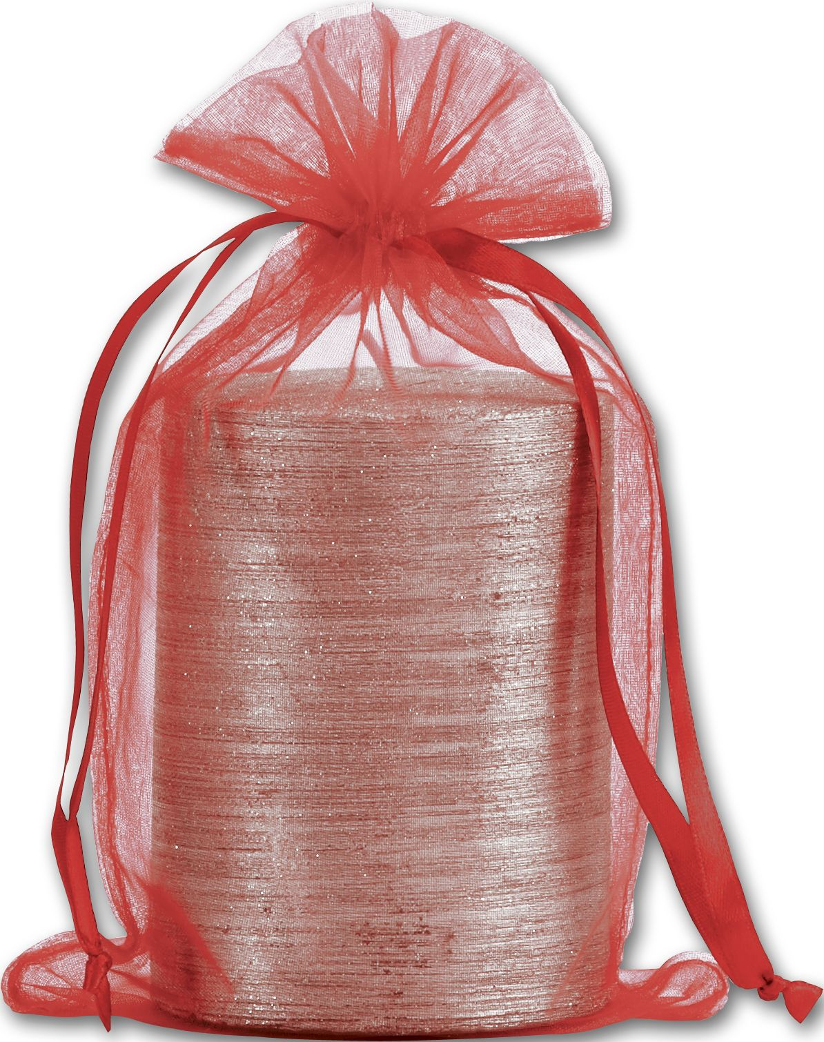 """Red Organdy Bags, 5 1/2 x 9"""" (12 Bags) - BOWS-SPC24-11"""