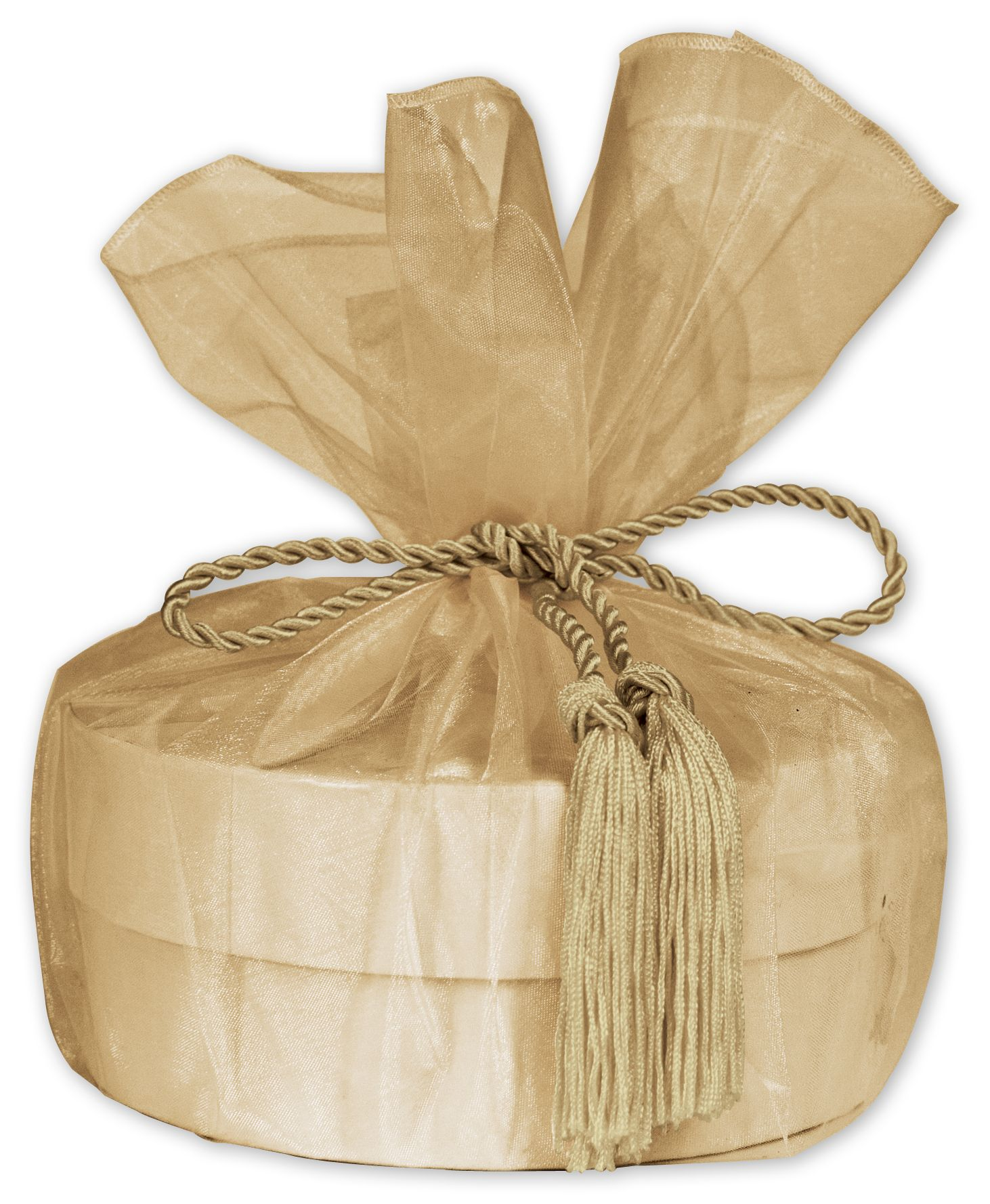 """Gold Organza Wraps with Tassels, 28"""" Diameter (10 Bags) - BOWS-103-27"""