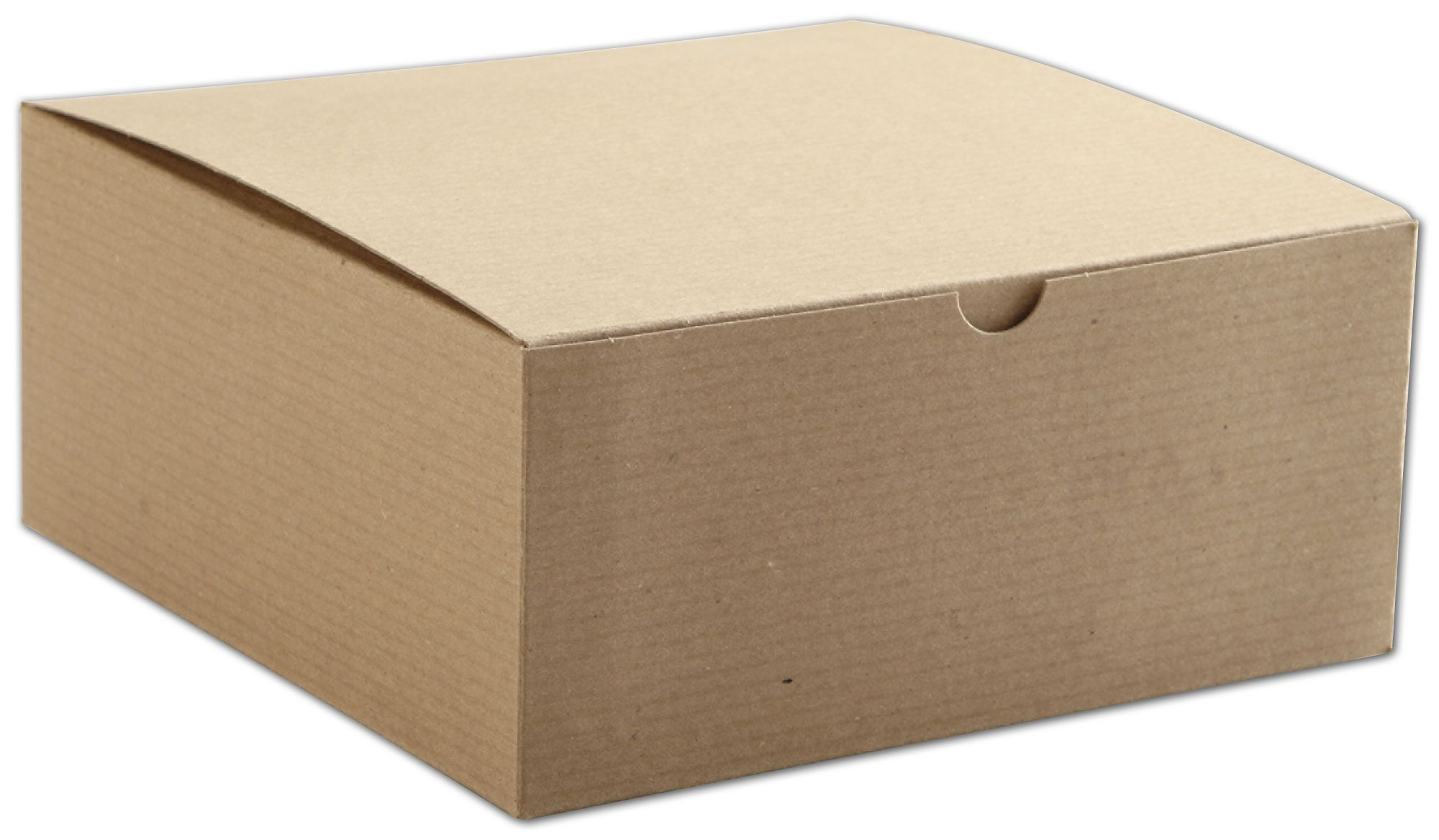 "Kraft One-Piece Gift Boxes, 8 x 8 x 3 1/2"" (100 Boxes) - BOWS-250-80803C-8"