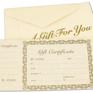 """Ivory Gift Certificates, Gold, 8 3/8 x 4 1/8"""" (100 Gift Certificates) - BOWS-503-00"""